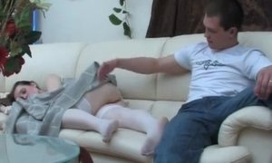 Tricky Youngster With Titanic Dick Plows MILF In White Stockings
