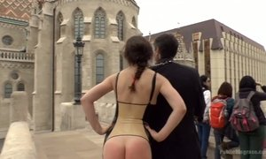 Bare assed babe with fur butt plug Tina Kay is fucked in public AnySex