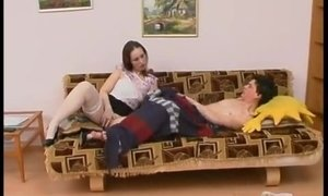 Chubby brunette mom helps a lad to start his day properly AnalDin
