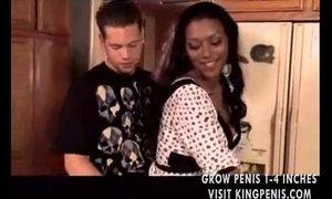 Black milf seduces him in the kitchen xVideos