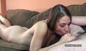 Blonde hottie Lina on her knees and sucking some dick xVideos