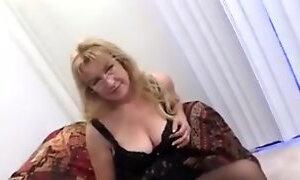 Aged Blonde Enjoys 2 Dicks And Eats Cream