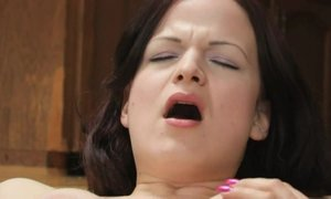 Slut milf in sexy mules fucks herself in both holes with dildo AnalDin