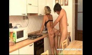 Mature Blond Milf in kitchen xVideos