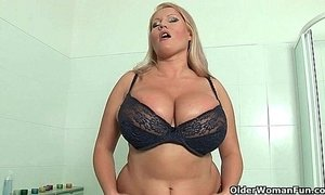 Blonde milfs with big tits give their pussy a treat