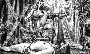 Brunette Mistress Tortured Tattoed Slave