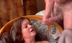 My cougar wife wants to please me and my buddy on the couch