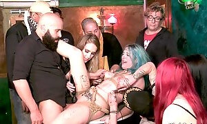 Blue haired bitch had intercourse in public bar