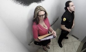Busty office girl sucking security guard in elevator Beeg