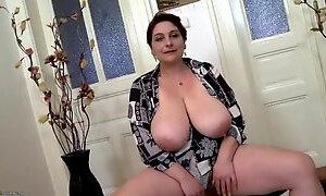 Mom fondles her huge saggy natural big tits