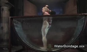 Tied up blonde sink in water basin xVideos