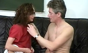 Horny brunette is fucked by her man in vintage video
