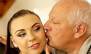 DADDY4K. Slutty girl made love by hotness babe old dad behind...