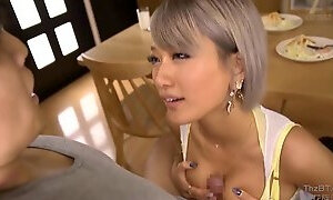 Two gorgeous Asian girls fucking lucky dude in turn
