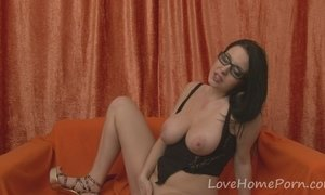 Geeky sweetheart in a sexy black outfit AnalDin