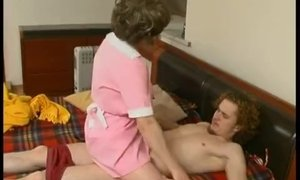 Curious mature maid sneaks under the client's blanket AnalDin