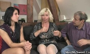 Dirty 3some leisure with son's girlfriend xVideos