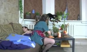 Young lad invites a mature woman to sit down on his face AnalDin