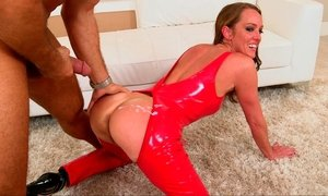 Naughty MILF in a red neon latex outfit Beeg