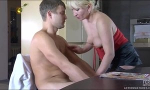 Young Nerd Was Catched Stroking His Dick By Juicy Blonde Mom AnalDin