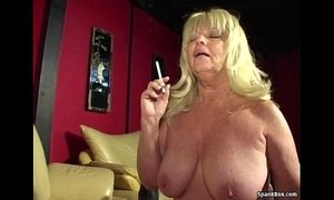 Big titted smoking granny sucks hard cock xVideos